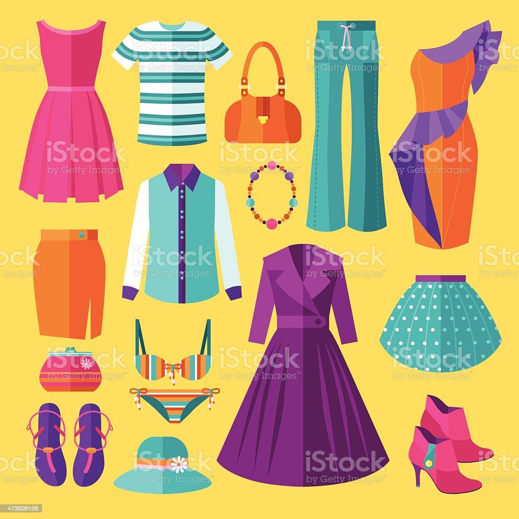 Women Clothes Icon Set vector art illustration