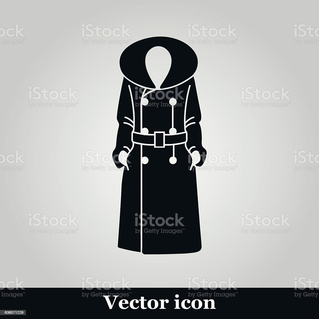 Women coat icon on grey background, vector illustration vector art illustration