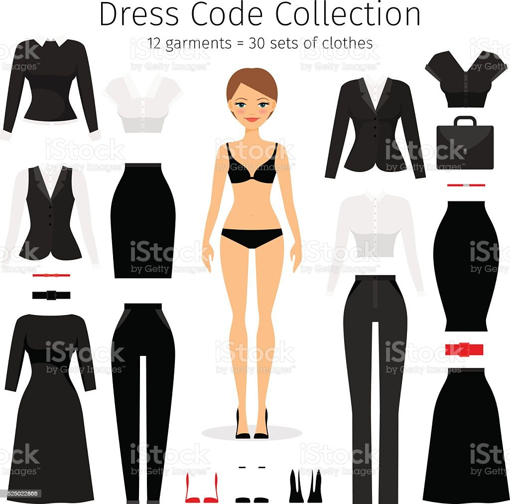 Women dress code set vector art illustration