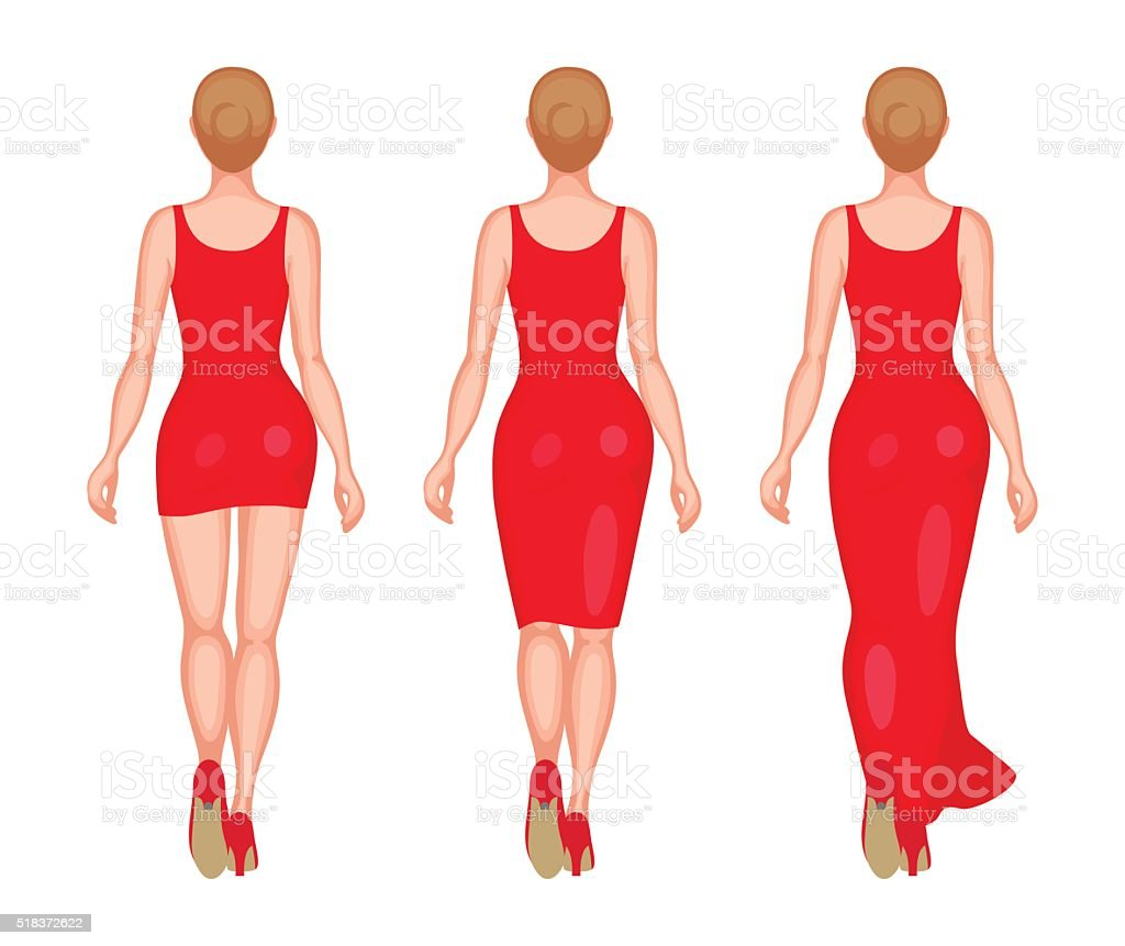Women dressed in mini, midi and maxi vector art illustration