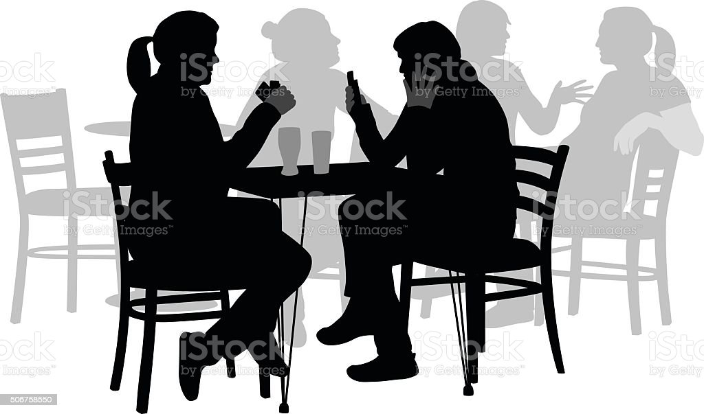 Women Drinking And Playing Cards vector art illustration