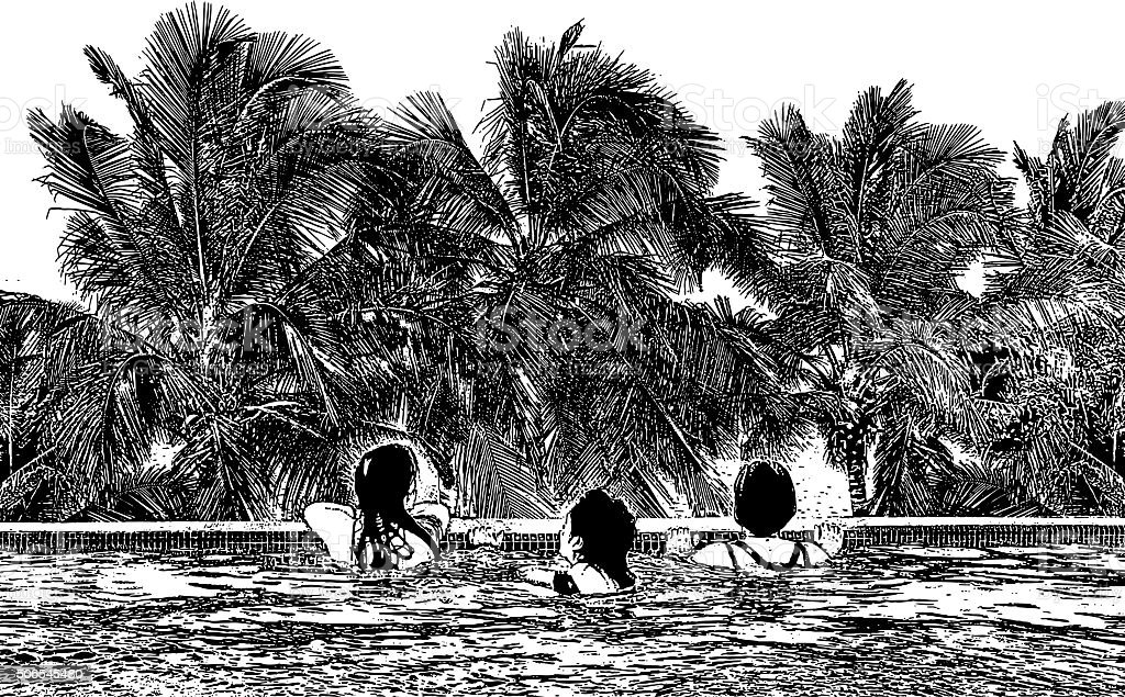 Women Enjoying Infinity Pool, View of Ocean and Palm Trees vector art illustration