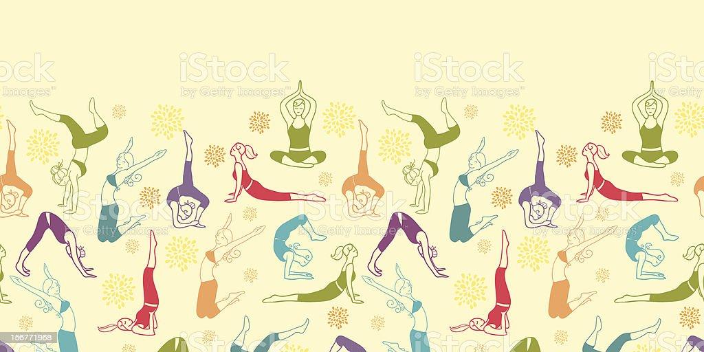 Women Exercising Horizontal Seamless Pattern Ornament royalty-free stock vector art