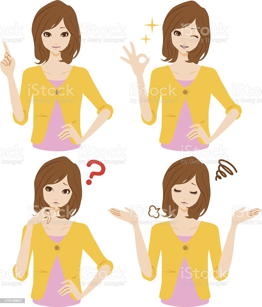 Women expression vector art illustration