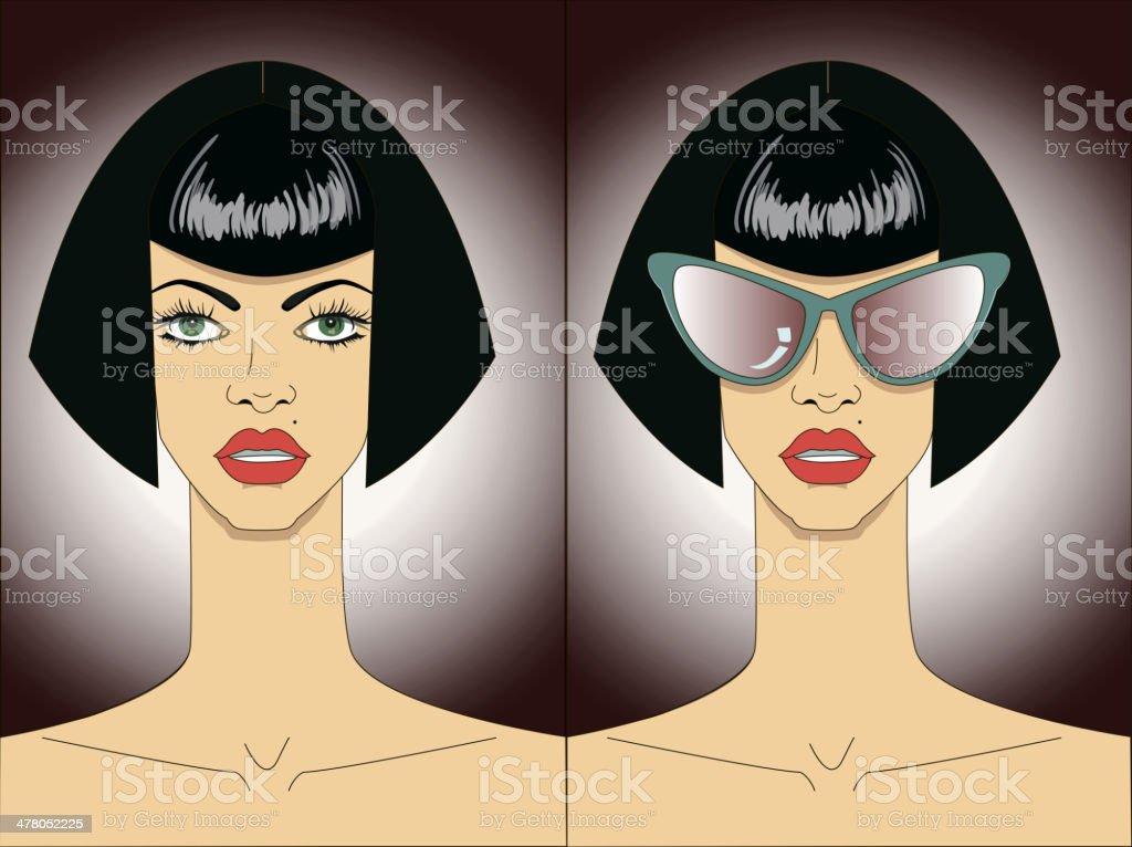 Women faces in sunglasses. Vector royalty-free stock vector art