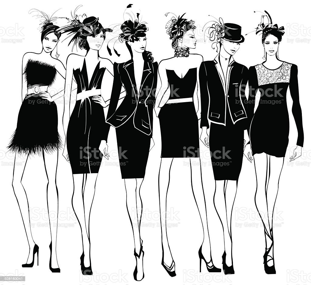Women fashion models in black dress and feather hat vector art illustration