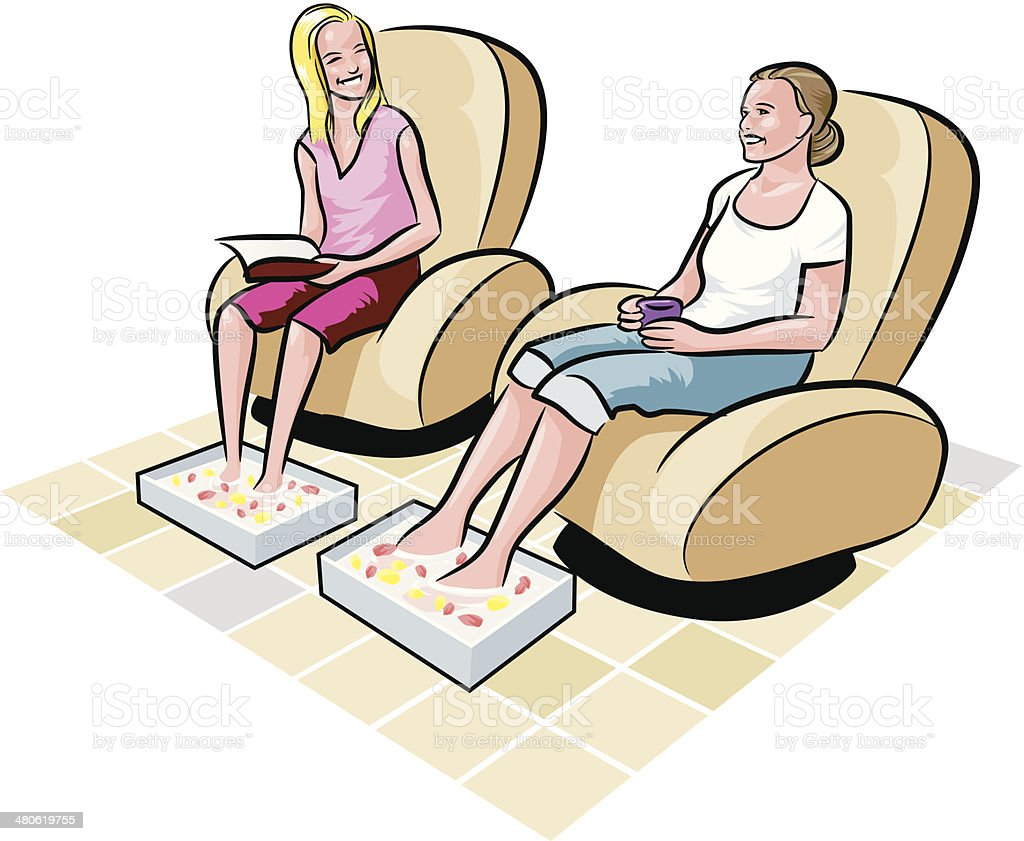 Women Footbaths C vector art illustration
