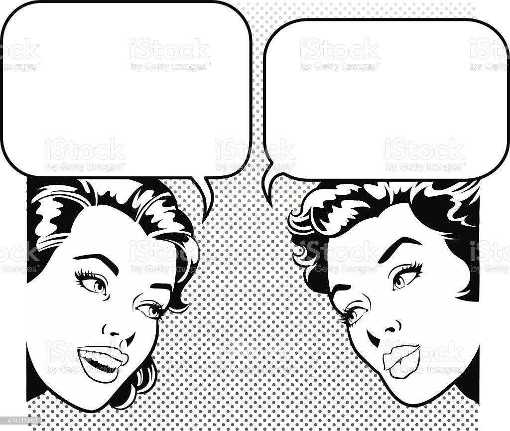 Women Friends Gossiping With Speech Bubble vector art illustration