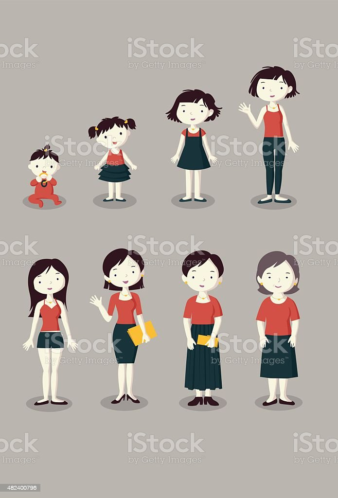 Women generation growing stages vector art illustration