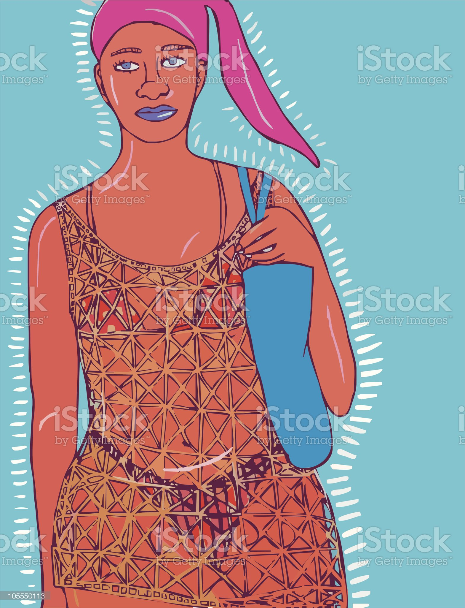 Women going to the beach royalty-free stock vector art
