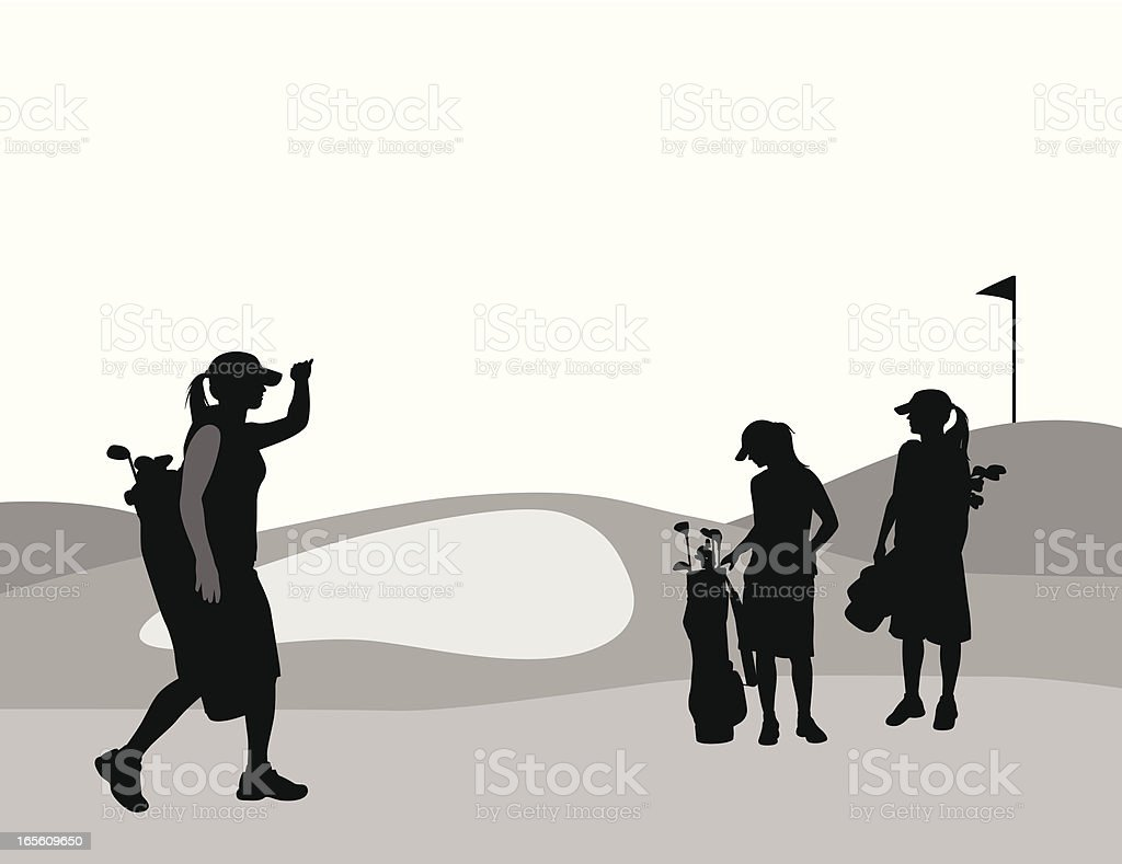 Women Golfing Vector Silhouette royalty-free stock vector art