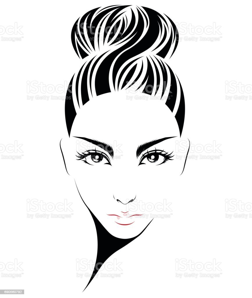 women hair style icon, icon women on white background vector art illustration