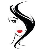 women hair style icon, logo women face on white background