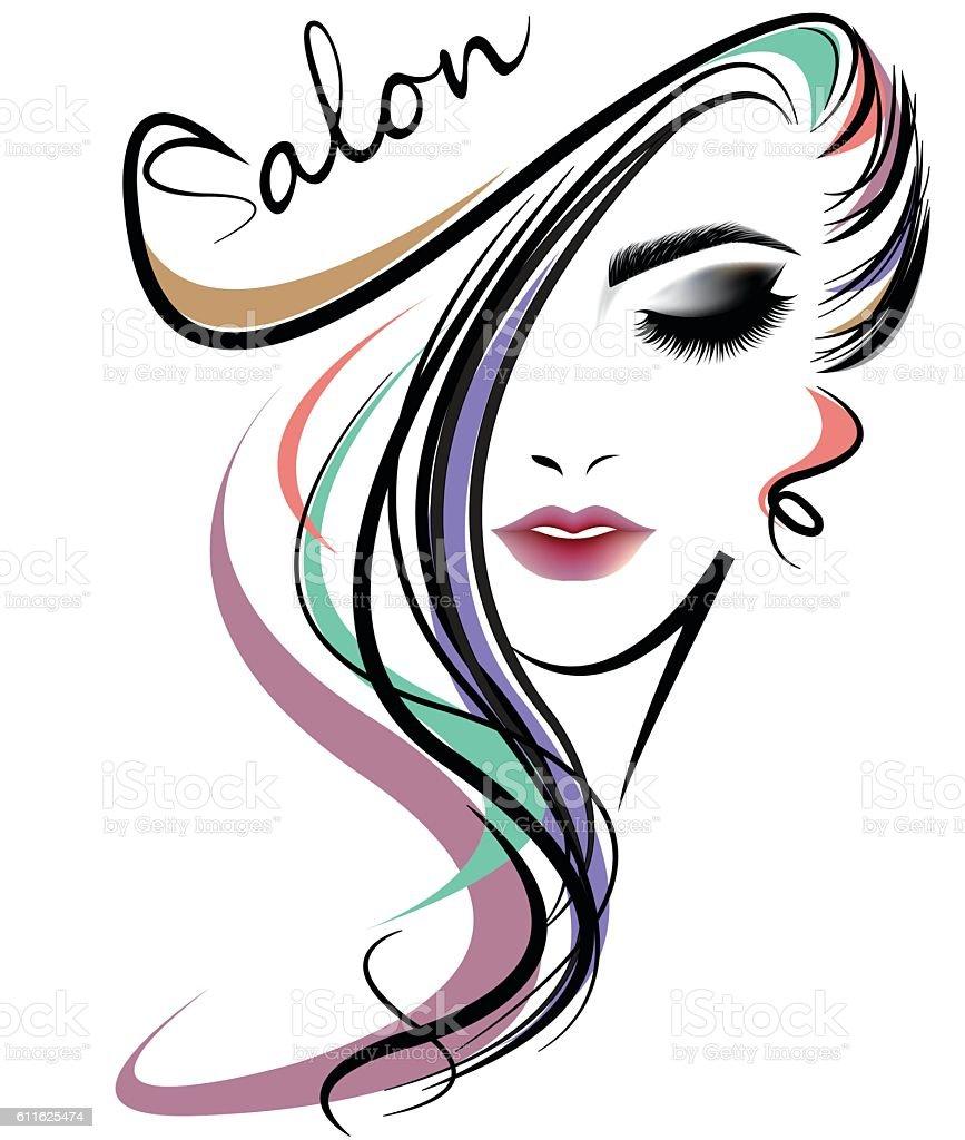 women hair style icon, logo women face on white background vector art illustration
