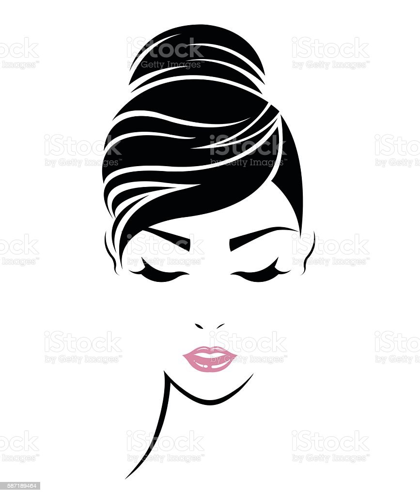 women hair style icon, logo women face vector art illustration