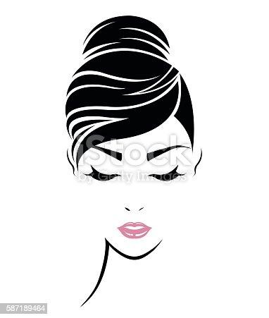 Women Hair Style Icon Logo Women Face stock vector art