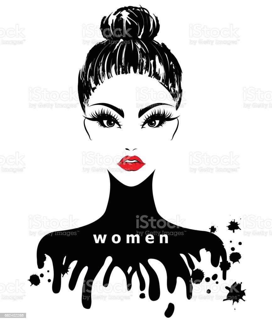 women hair style icon,  women on white background vector art illustration