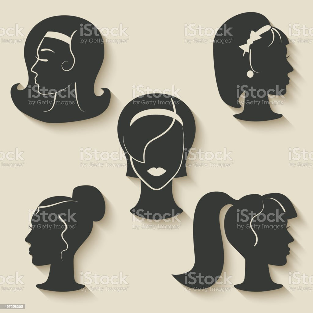 women hairstyle icons vector art illustration