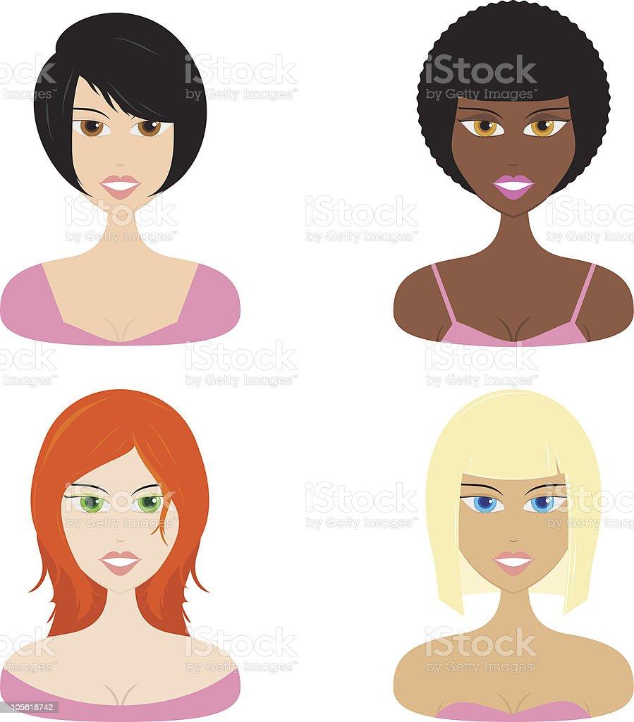women hairstyles royalty-free stock vector art