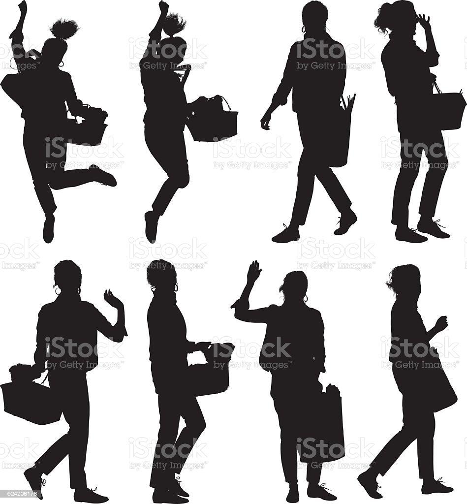 Women holding vegetable basket vector art illustration