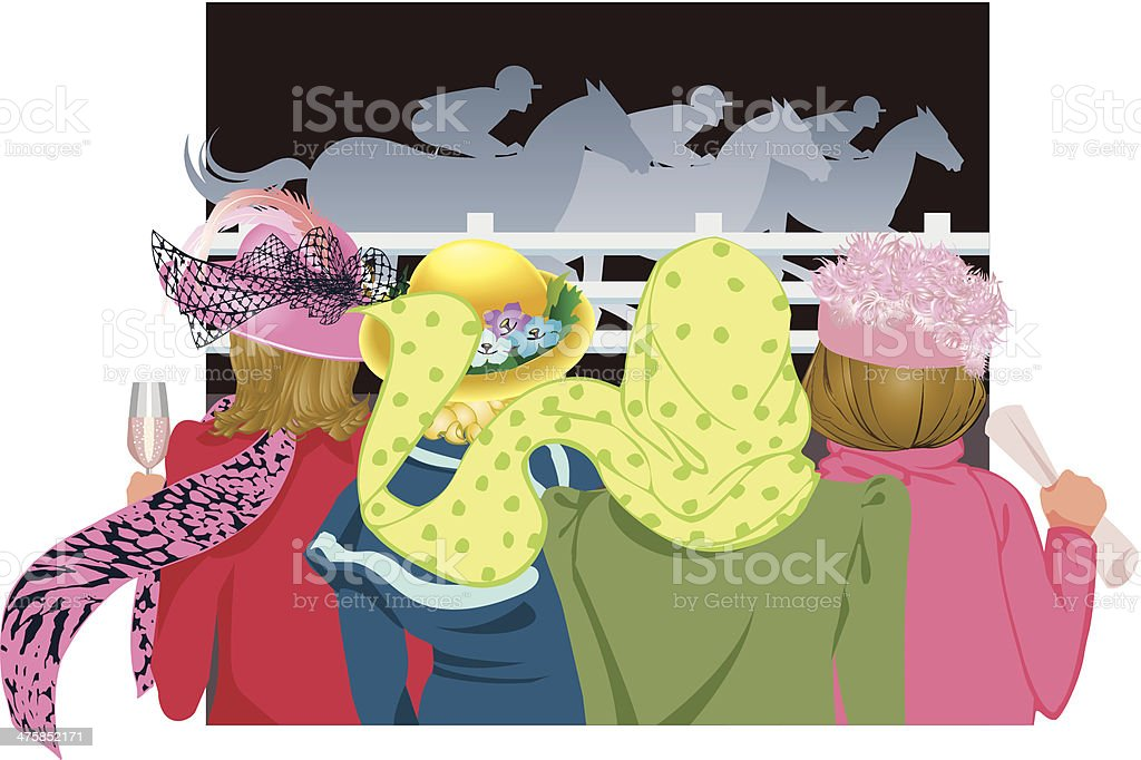 Women Horse Race C vector art illustration