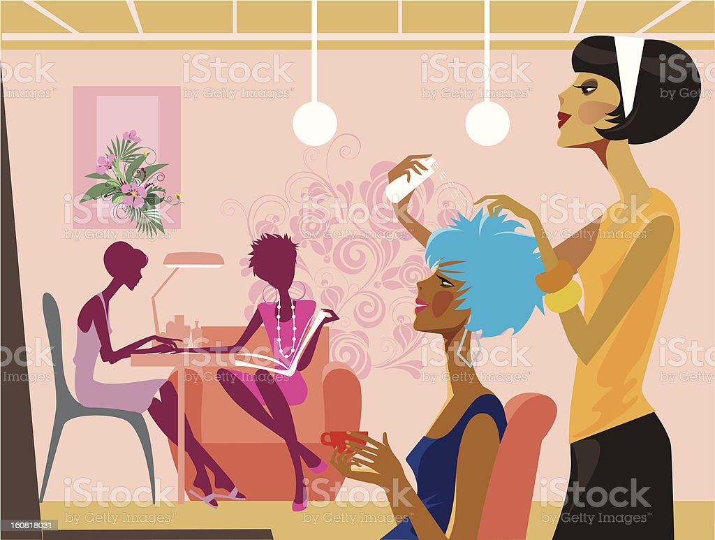 women in a beauty salon royalty-free stock vector art