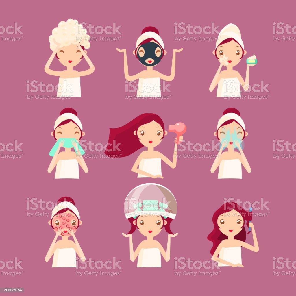 Women in Beaty Saloon. Vector Illustration vector art illustration