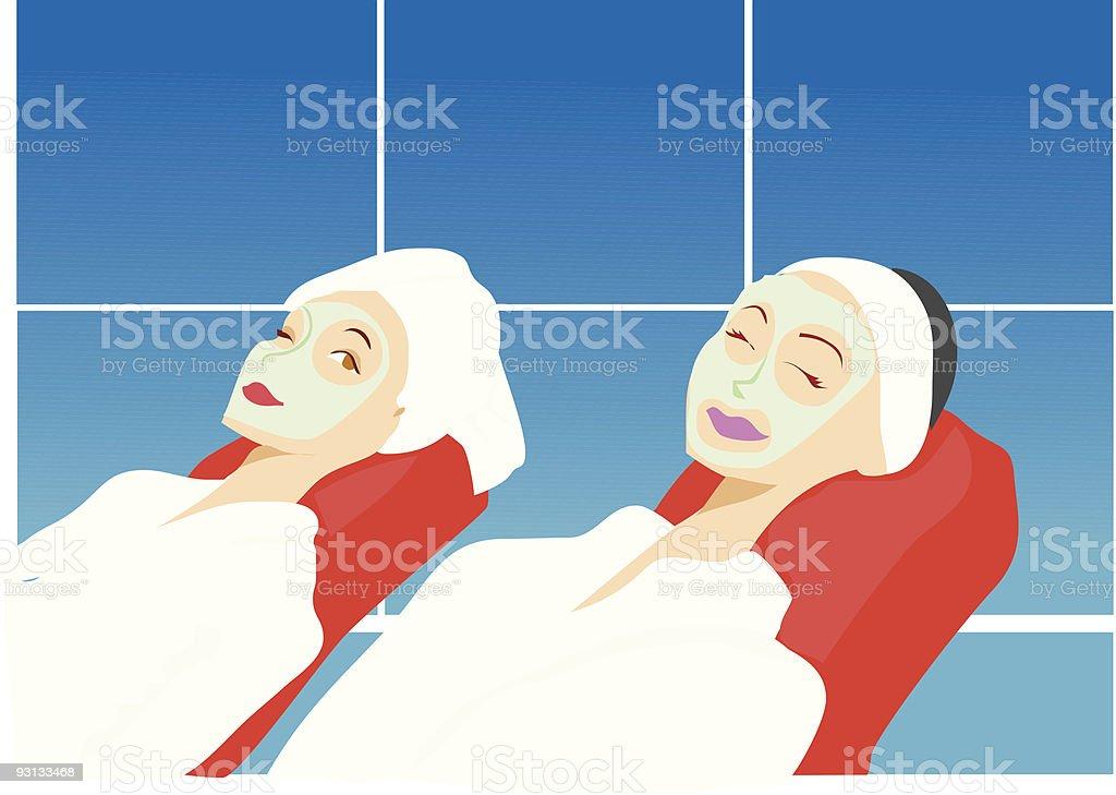 Women in beauty spa royalty-free stock vector art