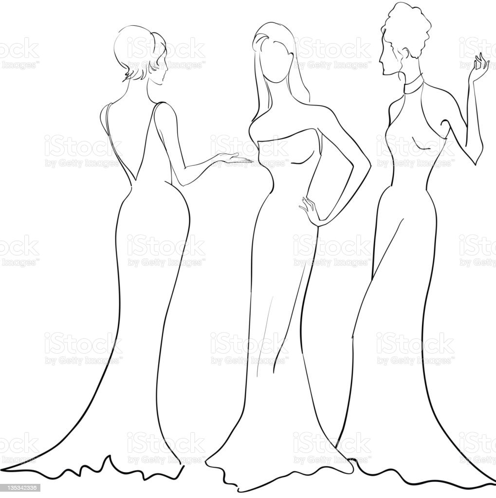 Women in evening gowns, outlined royalty-free stock vector art