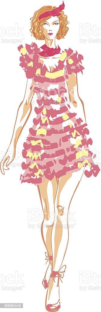 Women in pink vector art illustration