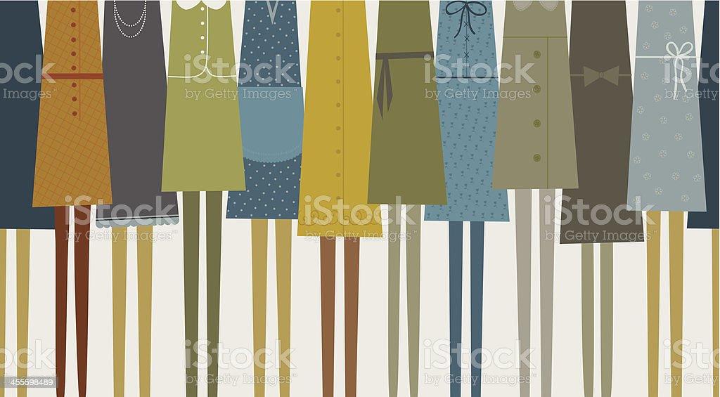 Women in pretty dresses vector art illustration