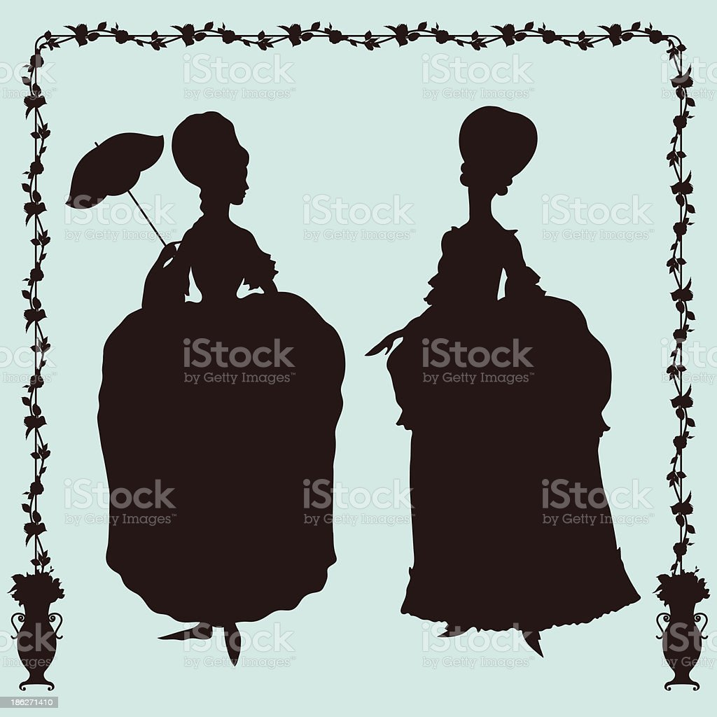 Women in rococo style costumes royalty-free stock vector art