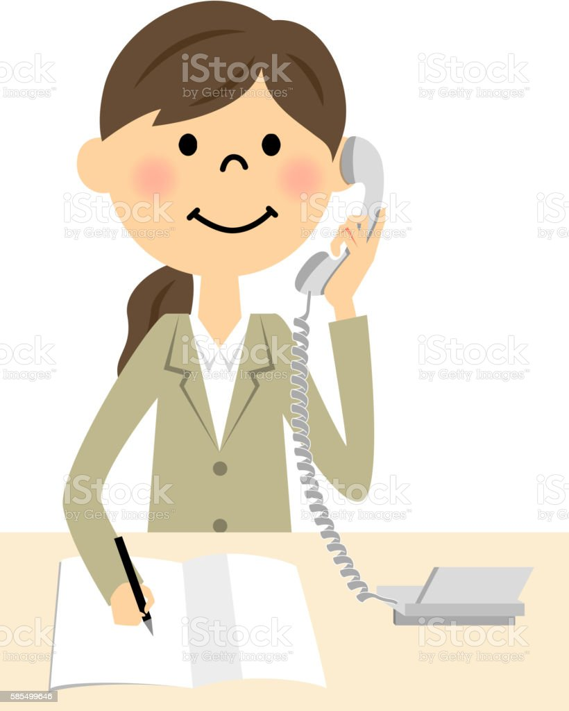Women in suits to call vector art illustration