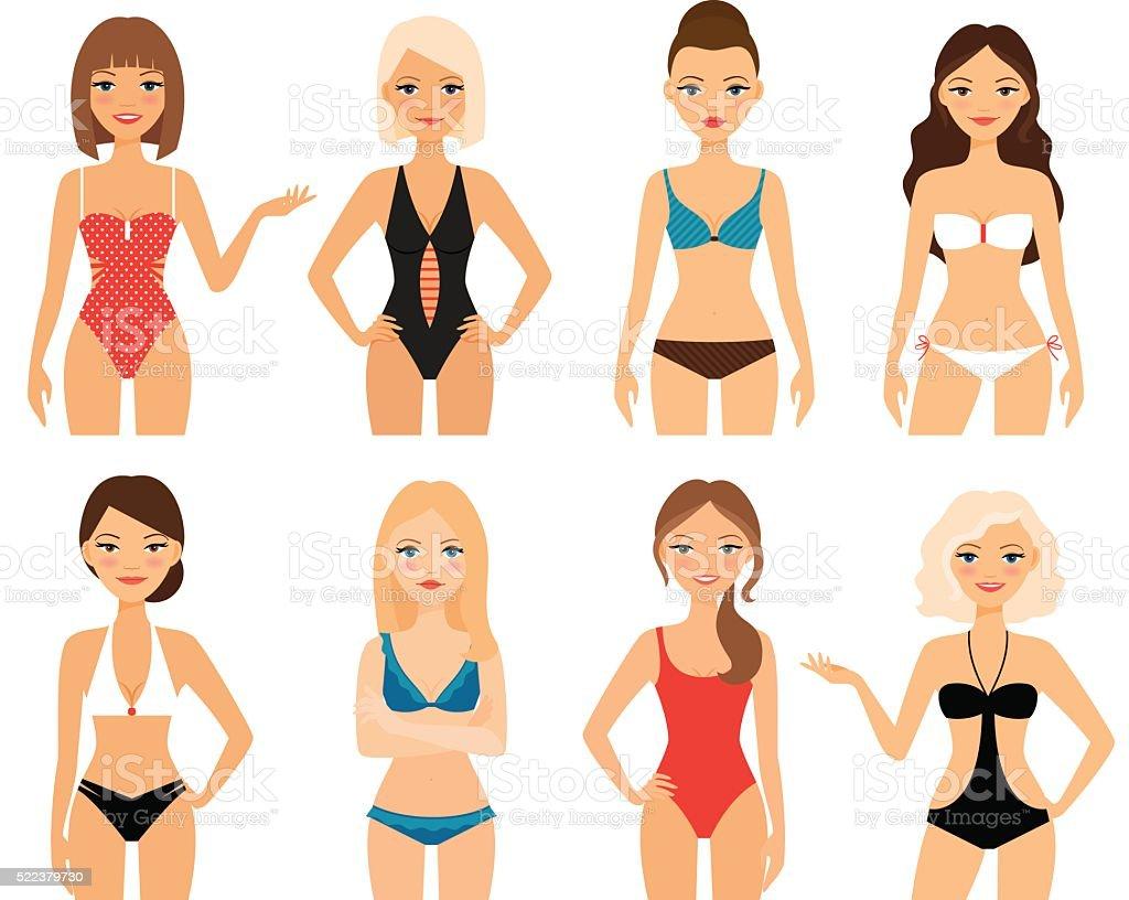 Women in swimsuit vector art illustration