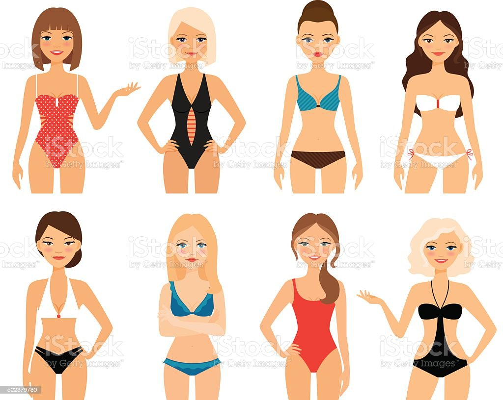 Women in swimsuit vector art illustration