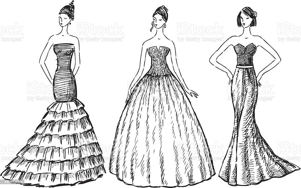 women in the evening dresses vector art illustration