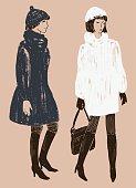 women in the fur coats