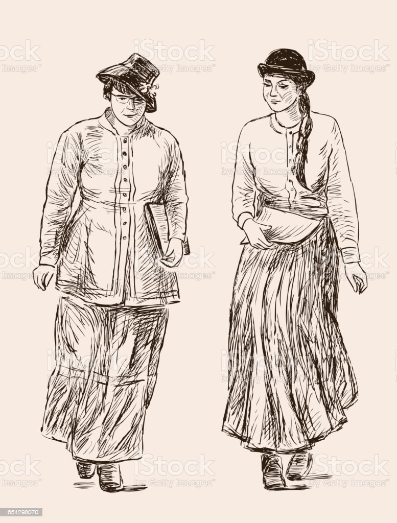 Women in the vintage suits of the сollege students vector art illustration
