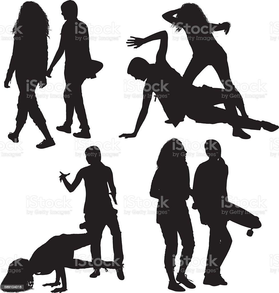 Women in various actions vector art illustration