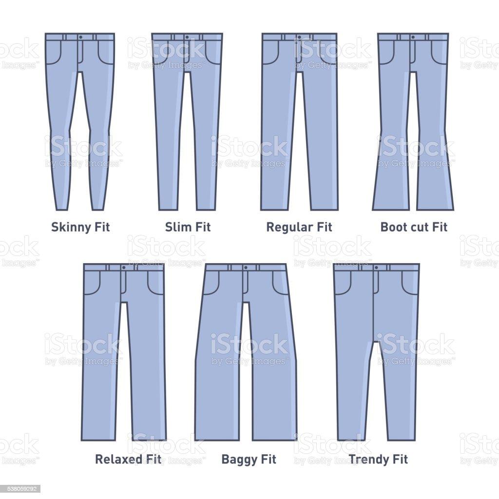 Women Jeans Types Set vector art illustration