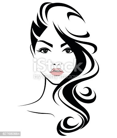 Women Long Hair Style Icon Logo Women Face stock vector
