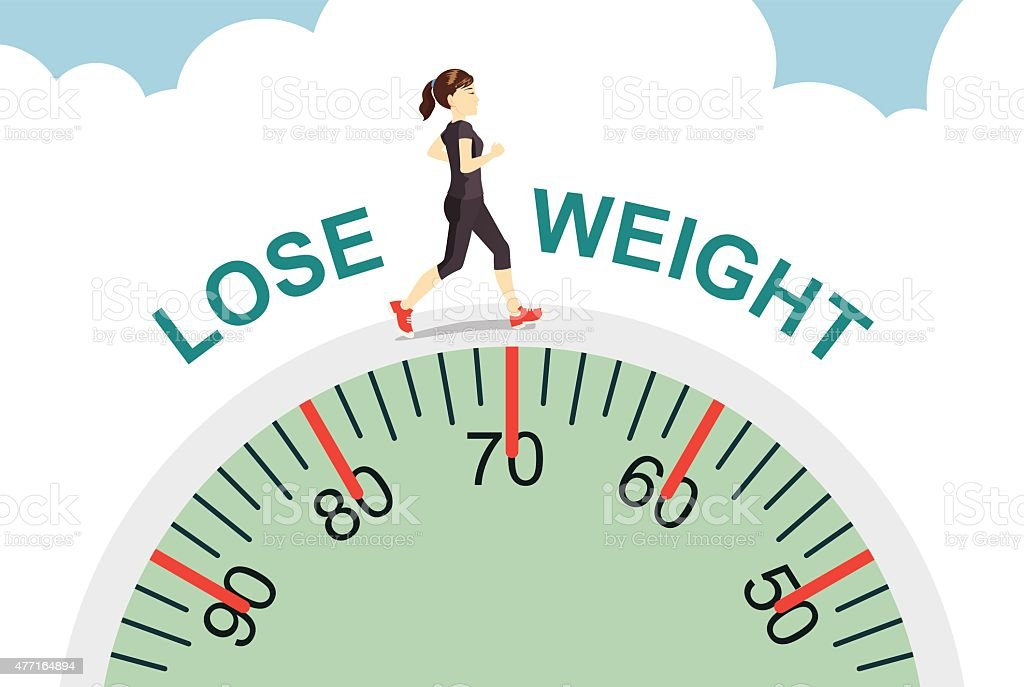 Women lose weight with jogging vector art illustration