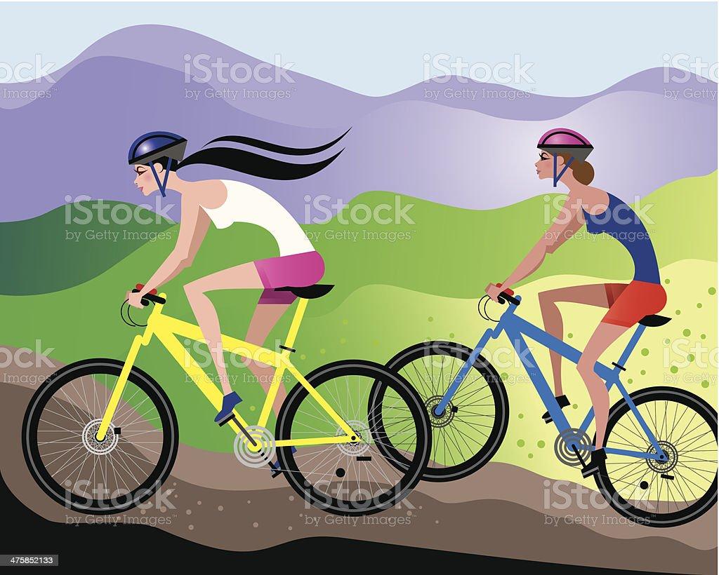 Women Mountain Bikes C vector art illustration