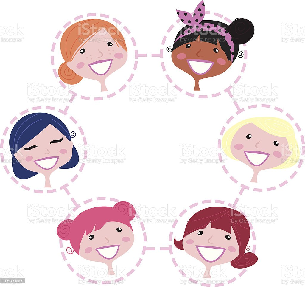 Women multicultural network group isolated on white royalty-free stock vector art