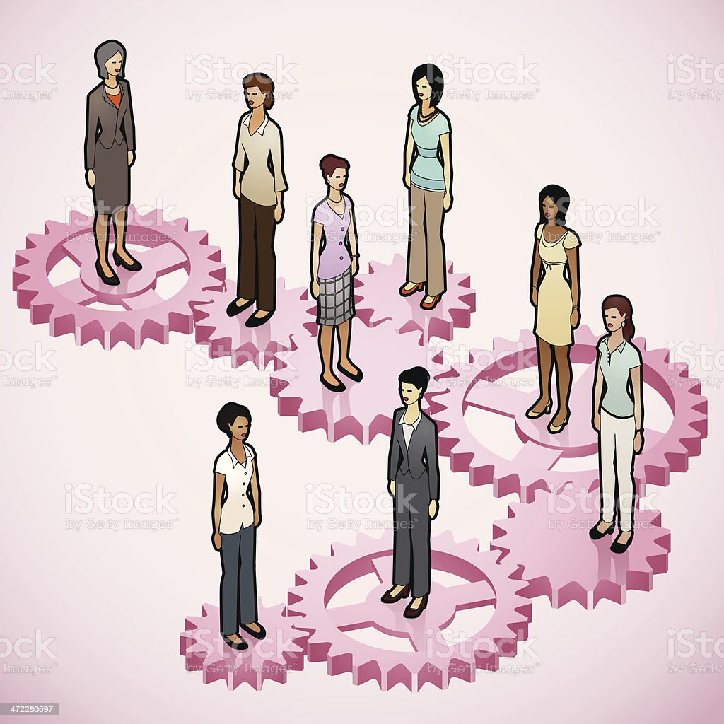 Women on Gears vector art illustration