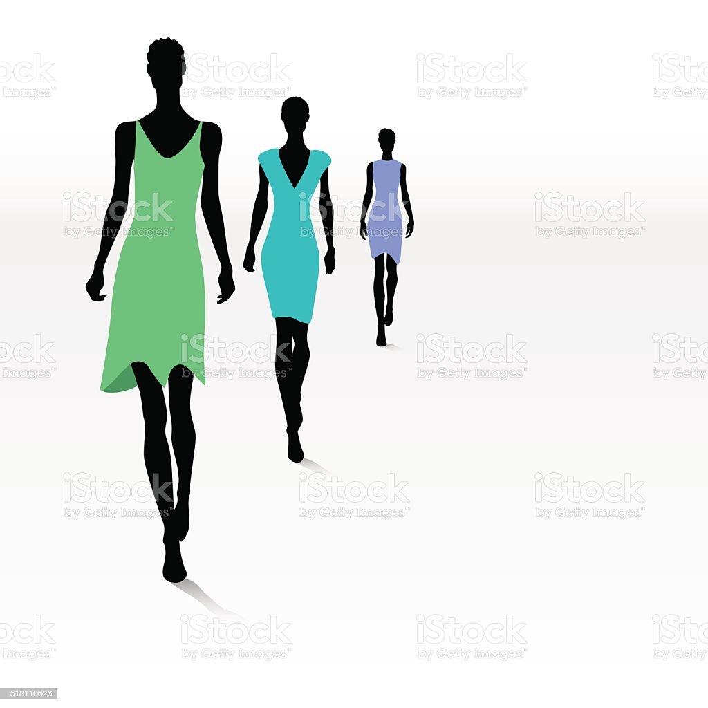 Women on the runway vector art illustration