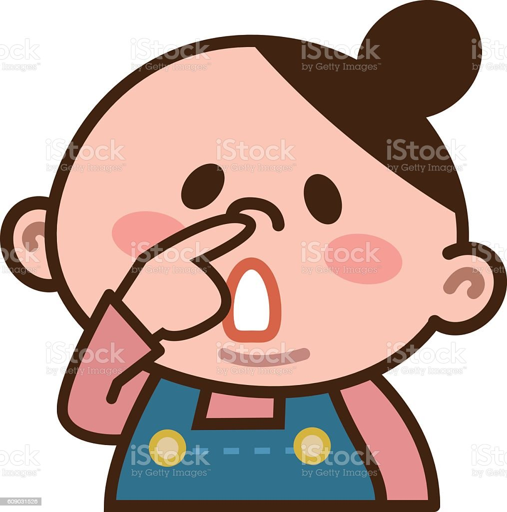 Women pick the nose vector art illustration