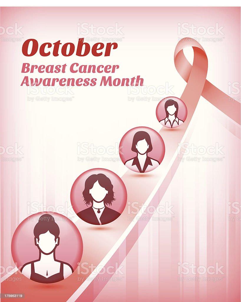 Women, Pink Ribbon & Breast Cancer Awareness Month vector art illustration