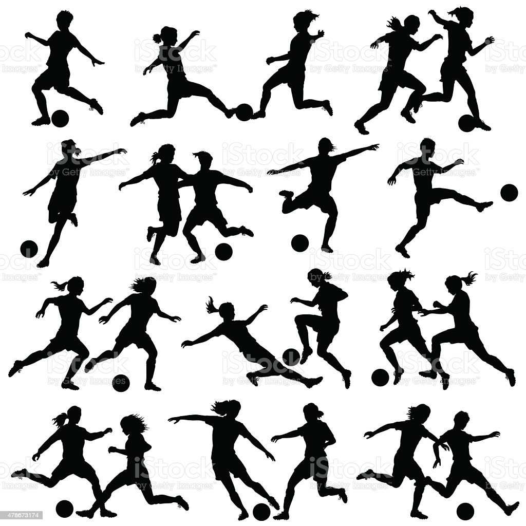 Women playing football vector art illustration