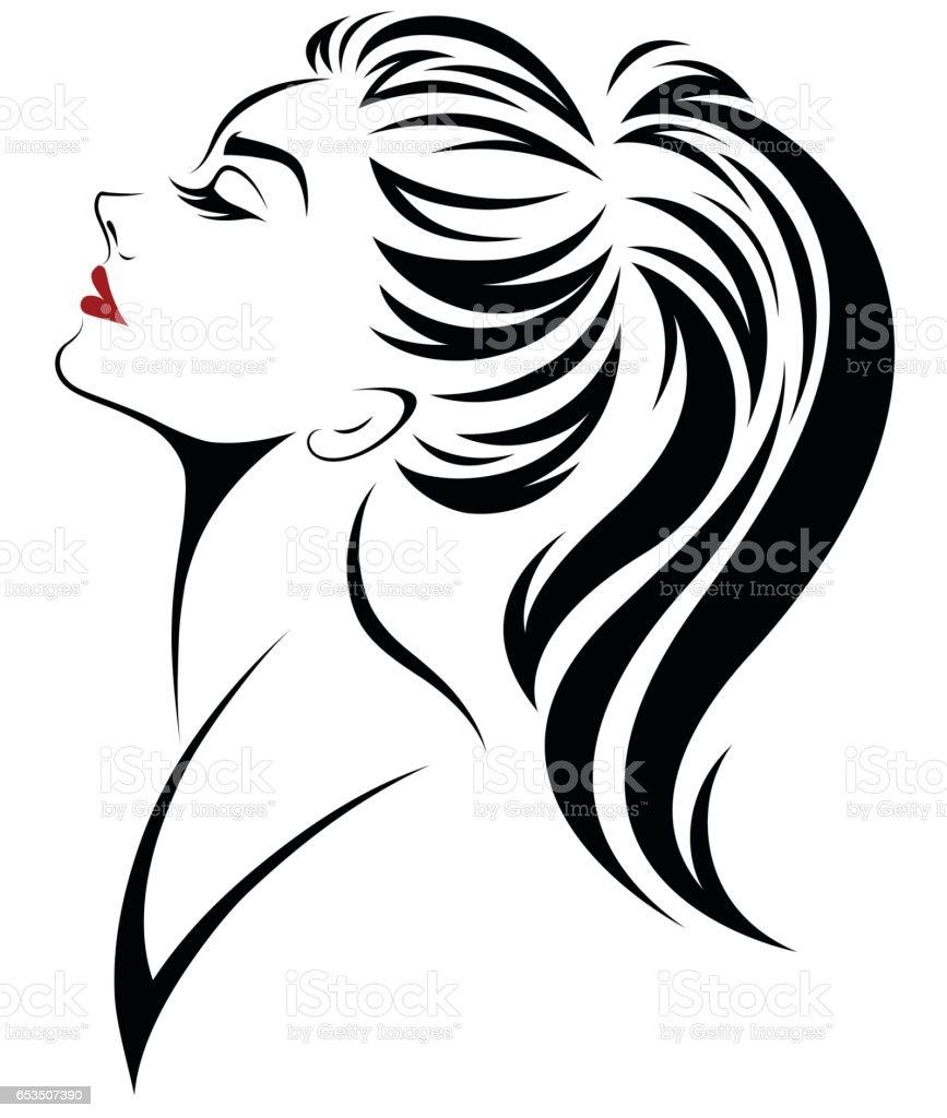 women ponytail hair style icon, logo women face vector art illustration